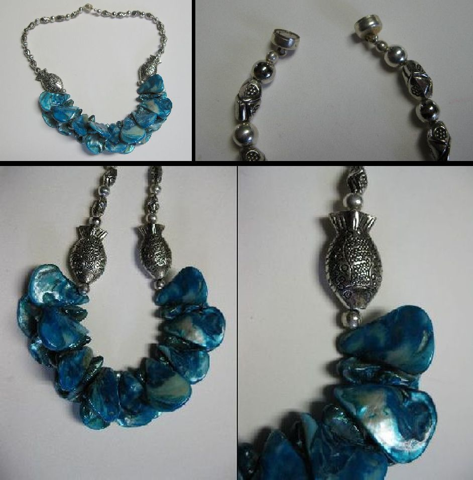 Sms Noveltiques 1950s Vintage Cute Nudie Collectibles From Tiny Islands Ike Earrings Silver Platted And Blue Mother Of Pearl Necklace Beautiful Dyed With A Strong Magnetic Clasp It Is In Excellent Condition